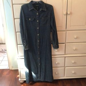 Navy Cotton Denim Ralph Lauren skirt waist dress